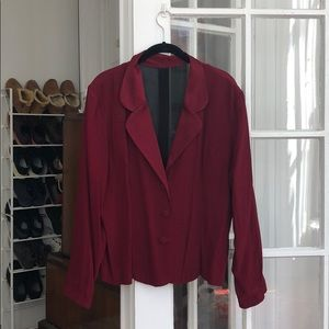 Jackets & Blazers - Vintage Crimson Blazer with Shear Back Panels